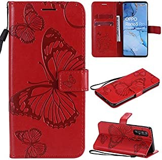 LINSMAO Cover For Oppo Reno 3 Pro 5G /Find X2 Neo Leather Folio Case, Butterfly Embossment PU Leather Wallet Case with Hol...