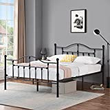VECELO Queen Size Bed Frame Metal Platform Mattress Foundation/Box Spring Replacement,with Headboard & Footboard/Easy Assemble,Black