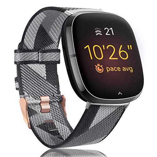 Onedream Sportarmband Kompatibel für Fitbit Versa 3 / Sense Armbänder Herren Damen, Leichtes Gestreiftes Nylon Gewebe Sport Band, Verstellbares Ersatzarmband für Versa 3 / Sense (Keine Uhr)