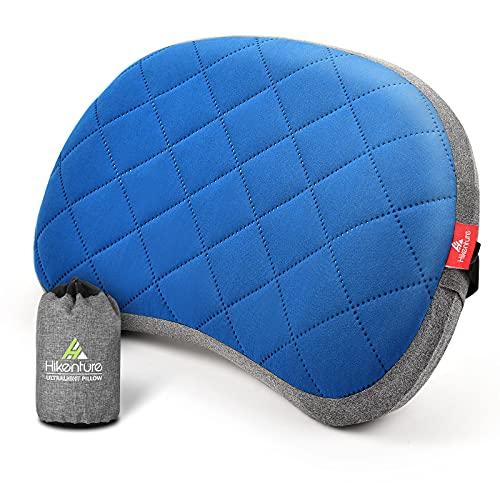 HIKENTURE Opblaasbaar campingkussen met afneembare overtrek, reiskussen opblaasbaar licht, ergonomisch kussen onderweg, opblaasbaar hoofdkussen, campingkussen, outdoor, opblaasbaar kussen, blauw