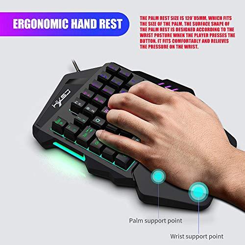 Mechanical Gaming Keyboard Einhand Gaming Tastatur 35 Schlüssel Mini Gaming Keypad Mit Gaming Mouse, 7 LED Rainbow Hintergrundbeleuchtung Gaming Keyboard für Xbox One / PS4 / PC/Mac