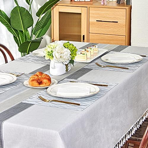 Mantel 140 × 220 con 6 Manteles Individuales Manteles Mesa Rectangular Tela Antimanchas Gris Mantel Lino Algodón Decoración Exterior Cumpleaños