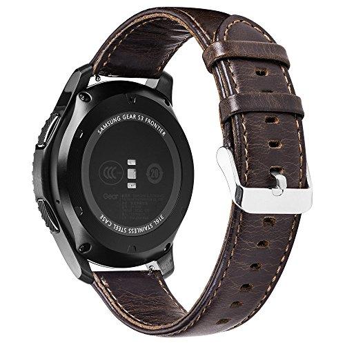 PINHEN 22mm Pulsera de Repuesto 22mm Correa Reemplazo Genuine Cuero Correa de Reloj para Gear S3, Moto 360 46MM, Ticwatch 1nd, ASUS Zenwatch, LG G Watch, Pebble Time (22mm Coffee)