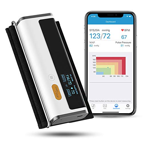 Wellue Armfit Plus Blood Pressure Monitor + EKG, Upper Arm Cuff BP Machine, EKG Monitor, Normal Heart Rhythm in 30 Seconds, Built-in Bluetooth with Free App for iOS & Android