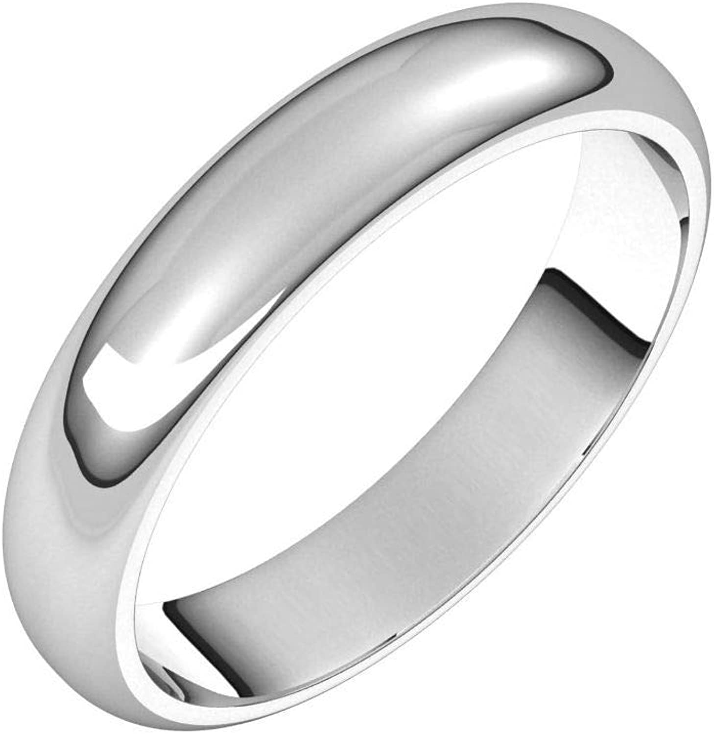 Diamond2Deal 10K White discount 4 mm Half Ring Wedding Wom Round for Band Max 89% OFF