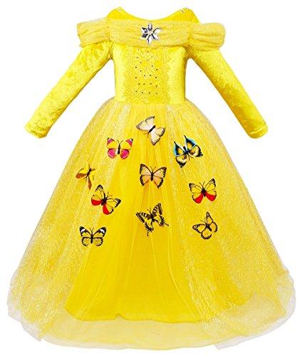 Le SSara Vestito fantasia della principessa Cosplay della ragazza lunga del manicotto (110, L-yellow)
