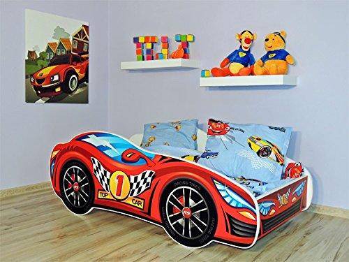 Autobett Kinderbett Juniorbett 160x80 cm inkl. Matratze Abgerundete Kanten Wandboard Top Car 1