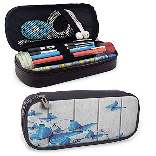 Butterflies Soft Leather Pencil Pen Case Pouch Holder Bag, Blue and White Butterflies on Wooden Background Timber Wall Rustic Life Zippered Pen Case for School, Work & Office Silver Blue White
