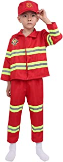 JEATHA Kids Boys Girls 3PCS Fireman Long Sleeves Zipper Coat with Pants Hat Sets Halloween Cosplay Carnival Costumes