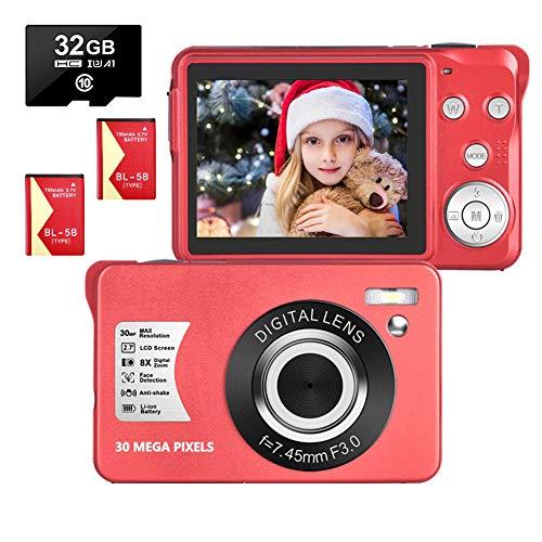 Digitalkamera 2,7 Zoll 1080P 30 Megapixel HD Fotoapparat Digitalkamera mit 8-Fach Zoom-Kompaktkamera Mit 32 GB SD-Karte und 2 Batterien (Rot)