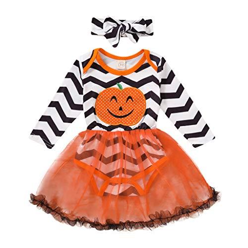 JKstore Disfraz de niña de Halloween para niños de manga larga con diseño de calabaza, a rayas de tul, tutú con diadema