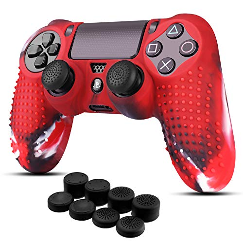 TNP PS4 / Slim/Pro Controller Skin Grip Cover Case Set - Protective Soft Silicone Gel Rubber Shell & Studded Anti-Slip Thumb Stick Caps for Sony Playstation 4 Controller Gaming Gamepad (Mystic Red)