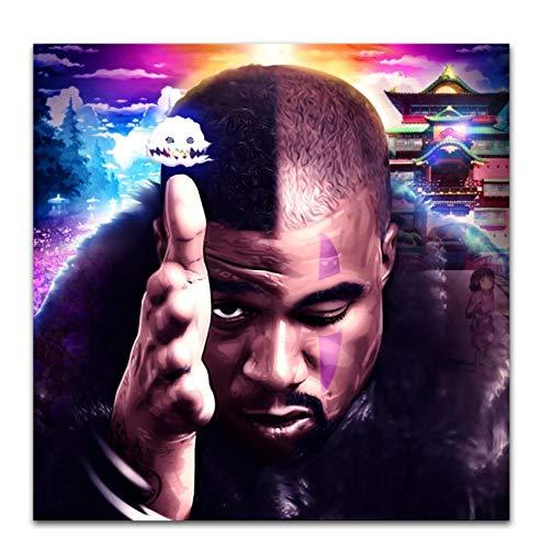 Vscdye Kids See Ghosts Kanye West & Kid Cudi 2018 Portada del álbum Póster Artístico Pintura en Lienzo Decoración para el hogar Póster Artístico Impreso en lienzo-60x60cm Sin Marco