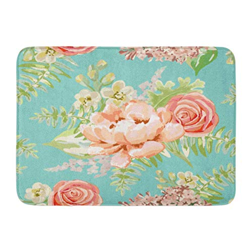 NCH UWDF Doormats Bath Rugs Door Mat Green Blush Pale Pink Bouquets Mint Delicate Flowers Peony Rose Lilac Gillyflower Pastel Colors Pattern 15.8'x23.6'