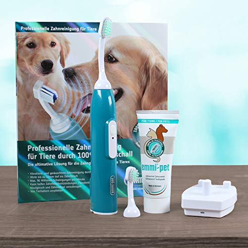 emmi-pet electric toothbrush for pets. Deep cleans with patented 100% Ultrasound technology, completely silent and without brushing. Cleaner teeth and gums and a fresher breath for your pet.