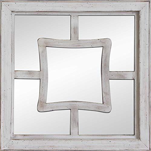 Espejo de Pared Fabricado en España – Varios tamaños y Acabados | Mod- Pune | Acabado Artesanal - Ideal para Salón, Recibidor, Vestidor, Dormitorio y Baño. … (Blanco Envejecido, 50x50 cm)