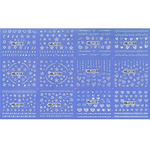 JSIYU stickers ongle 12pcs / lot 3d autocollants ongles autocollants ultra-minces décorations ongles d'art emboutissage manucure ongles autocollants outil par