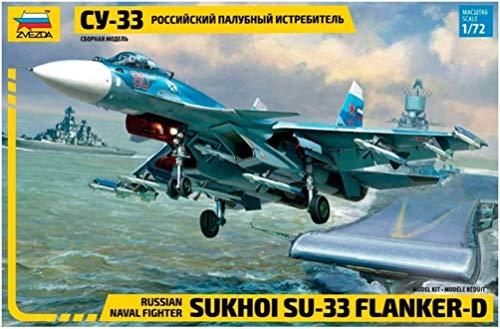 Zvezda 500787297-Maqueta de avión sukkoi SU-33 Ruso Naval Fighter (Escala 1:72), Color Azul Claro (7297)