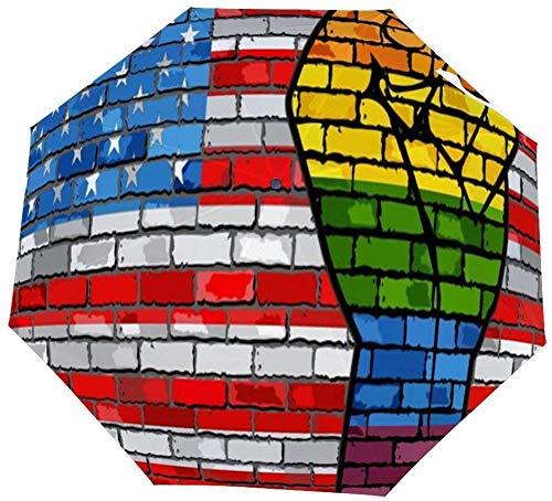 Vouwparaplu LGBT Protest Vuist Op Een USA Baksteen Muur Vlag Auto Paraplu Open Sluit Winddichte Paraplu Lichtgewicht Compact Outdoor Paraplu's Zon & Regen