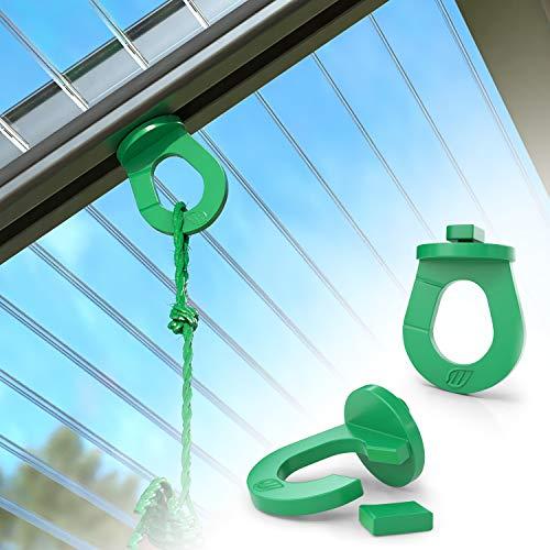 RASENWERK® - 25 Innovative Gewächshausclips mit Einkerbung – Stabile Pflanzenhalter - Kompatibel mit den Marken Zelsius, Palram, Deuba uva. - Made in Germany