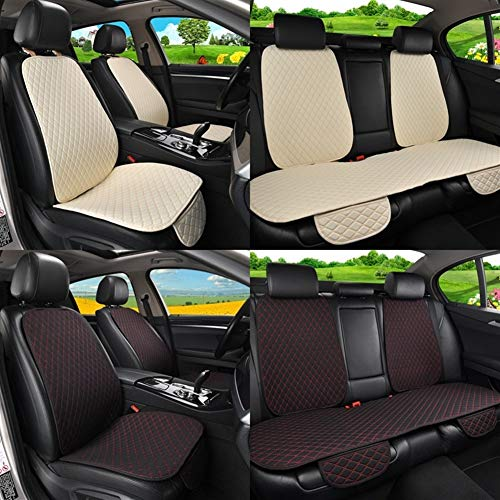 N\A Car Seat Covers Set Waist Washable Cushion Pad Mat Flax Car Seat Cover Protector with Backrest Front Rear Seat Back for Auto Universal Fit Most Car Car Interior Accessories