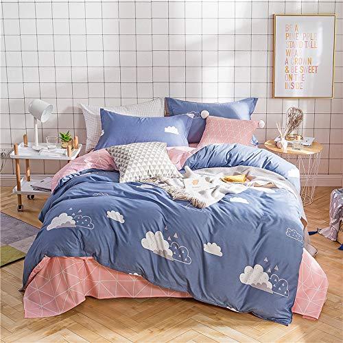 huyiming bed linings Se Utiliza para sábanas de algodón de Cuatro Piezas de Aloe Vera, Ropa de Cama con Funda de Colcha Juego de Cuatro Piezas de 1,5 m