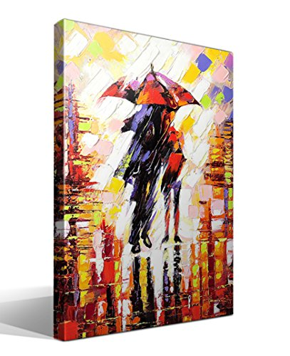 cuadrosfamosos.es Canvas Lienzo Bastidor Enamorados bajo Paraguas - 55 cm x 75 cm - Fabricado en España