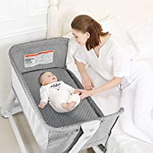 BABY JOY Baby Bedside Crib, 2 in 1 Height & Angle Adjustable Sleeper Bed Side Bassinet w/Detachable & Washable Mattress, Straps, Easy Folding Movable Cradle for Newborn Infants, Breathable Mesh (Gray)