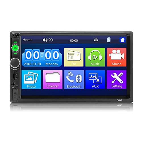 Autoradio Doppel Din -7'' Autoradio mit Bluetooth Freisprecheinrichtung,Multimedia MP5 Player mit Taste Unterstützung FM Radio/USB/AUX/TF,2Din Autoradio mit Rückfahrkamera,Fernbedienung von Hodozzy