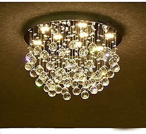 JIN Luz Empotrada de Techo K9 Colgante de Araña de Cristal de Cristal, Lujo Elegante Redondo Luz de Luz de Cristal Luz de Colgante de Interior Regulable para Sala de Estar, Dormitorio, Tienda,D 60 *