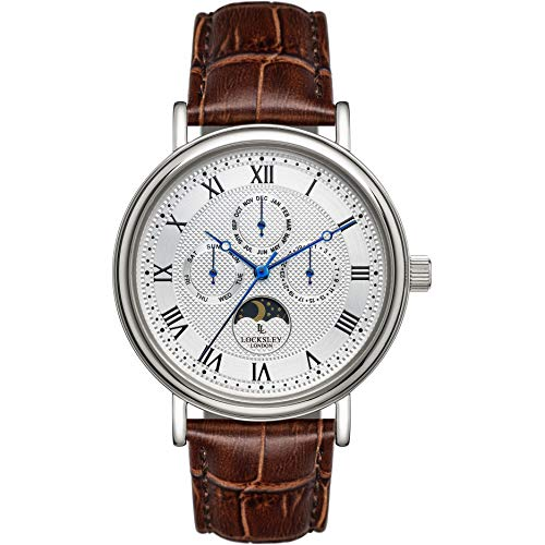 LOCKSLEY LONDON Mens 40mm Analogue Quartz Watch in Silver with Multifunction Day, Date and Month Display, and Brown Leather Strap LL0063040.