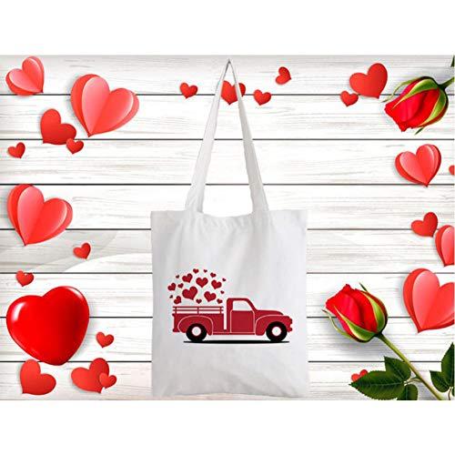GUTONGHAO Frauen Leinwand Umhängetasche Valentinstag Plaid Liebe Grafik Mode Einkaufstaschen Studentenbuch Tasche Handtaschen Tasche für Mädchen-7