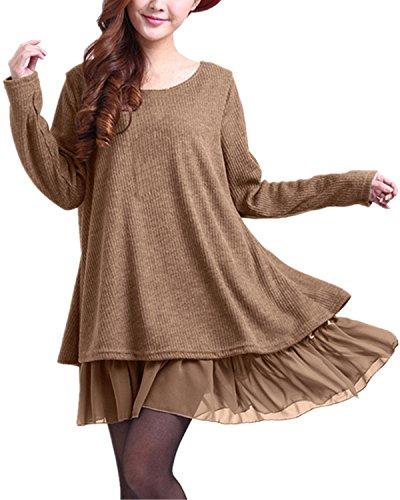 ZANZEA Pullover Damen Langarm Stricken Pulloverkleid Strickkleid Rundhals Longpullover Stricken Kleid Kurz Lässig Khaki EU 44
