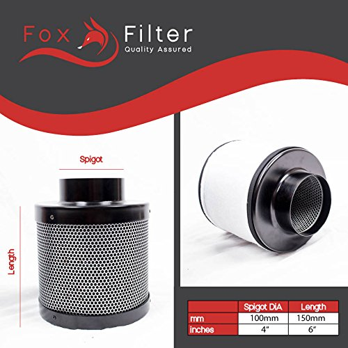 Fox Hydroponics 4' Inch (100mm x 150mm) Pro Carbon Filter Indoor Growing Professional Quality Grow Filters