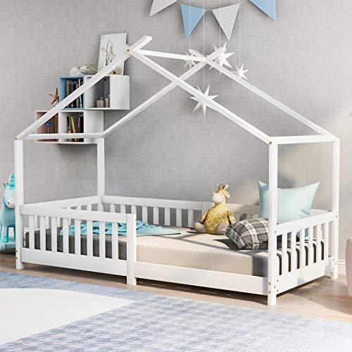 Keebgyy Bonita cama infantil de madera maciza con valla y somier, con protección anticaídas, para habitaciones infantiles y juveniles, color blanco (200 x 90 cm)