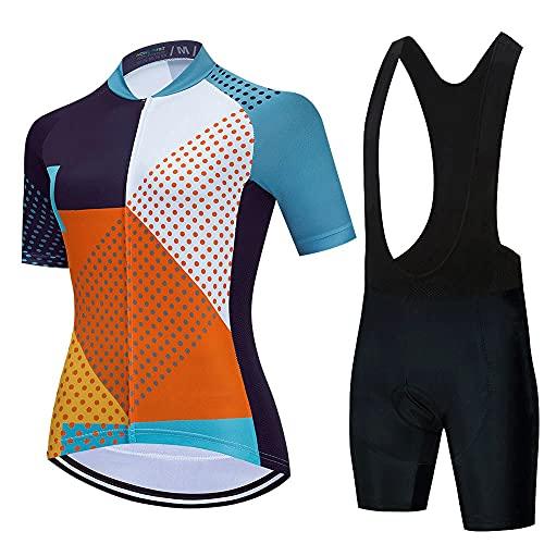 Conjunto de Maillot de Ciclismo para Mujer, Conjunto De Maillot De Ciclismo para Mujer, Pantalones Cortos De Ciclismo De Gel 3D para Mujer, De Manga Corta, para Bicicleta De Montaña