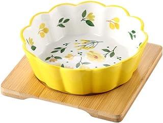 黄色花柄 ペット ボウル フードボウル 犬 猫食器 陶器 小容量 350MLウォーター ボウル 犬猫用 餌入れ 水入れ 水飲みボウル 木製 ペット皿 滑り止め 安定感 取り外し可能 手入れ簡単 ペット用品