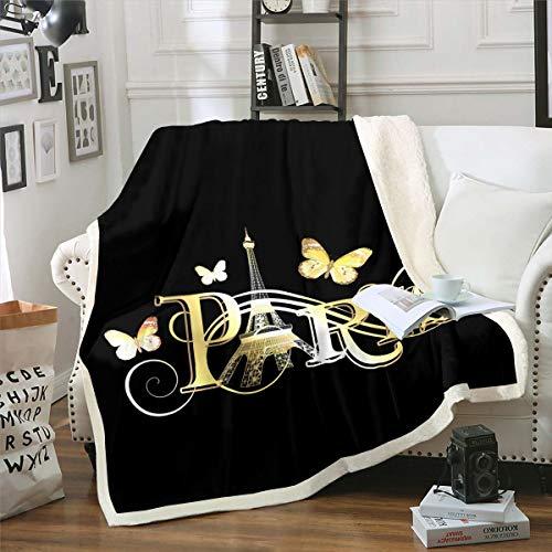 Loussiesd Manta de forro polar para sofá cama, diseño de mariposa, Paris, paisaje urbano de Paris, decoración ultra suave, estilo francés, manta de doble cara de 156 x 188 cm
