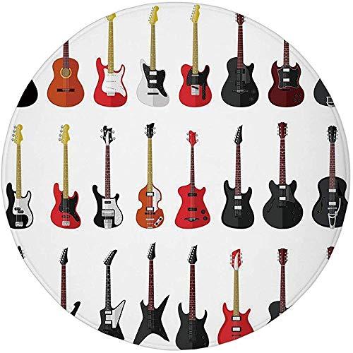 Alfombrilla Redonda Alfombra, Guitarra, Instrumentos Musicales Conjunto de Patrones con Varios Bajos acústicos Que Hacen música, Vermilion Black Whiteo
