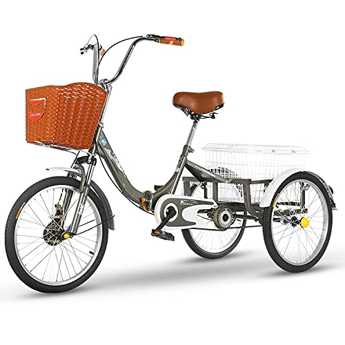 zyy Adult Tricycle 1 Speed Size Cruise Bike Foldable Tricycle with Basket for Adults Shopping with Basket Exercise Mens Womens Tricycles with Shopping Basket for Seniors Women Men Color Gray