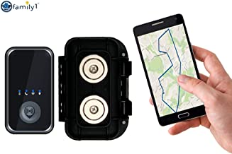 Family1st 4G LTE Portable GPS Tracker with Real-Time Live Locator - Comes with Waterproof & Weatherproof Magnetic Case - Compact & Hidden GPS Tracker for Kids, Teenagers, Seniors & Vehicles, Black