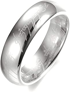 خاتم دبلة للنساء مطلي فضة بكتابة سيد الخواتم مقاس أمريكي 5