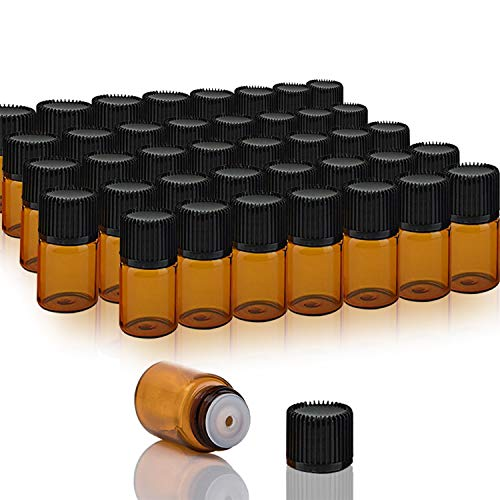 Goiio 30 Packs 2 ML (5/8 Dram) Essential Oil Bottles, Small Sample Amber Glass Jars With Orifice Reducers And Black Caps, For Oil Blends, Perfumes