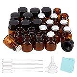 BENECREAT 50 Pack 1ml Botellas Vacías de Aceite Esencial de Vidrio Ámbar con Tapón de Rosca Mini Frascos de Vidrio de Muestra con Pipetas, Embudos y Paño de Limpieza para Aromaterapia