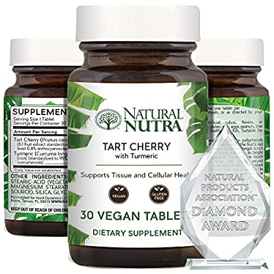 Natural Nutra Tart Cherry Extract with Turmeric Curcumin, Antioxidant Supplement for Inflammation Relief, Joint Health and Gout Treatment