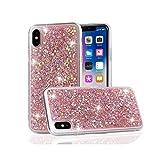 高級グリッターグロススパンコールソフトショックプルーフシリコンケースカバーfor iPhone 11 Xr Xs Max X 8 7 Plus 6 6s 5 5s SE 2020-Pink-for iPhone Xs