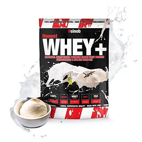 sinob Honest Whey Protein - Vanilla Icecream - 1 x 1000 g. 12,5% Isolate Anteil. Instant lösliches Eiweißpulver mit BCAA & EAA 'Hergestellt in Deutschland'