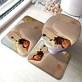 The-Odd-1-S-Out Comfort Collections - Juego de alfombrillas de baño con pedestal, alfombra de baño suave, antideslizante, alfombrilla de baño de chocolate, 3 piezas