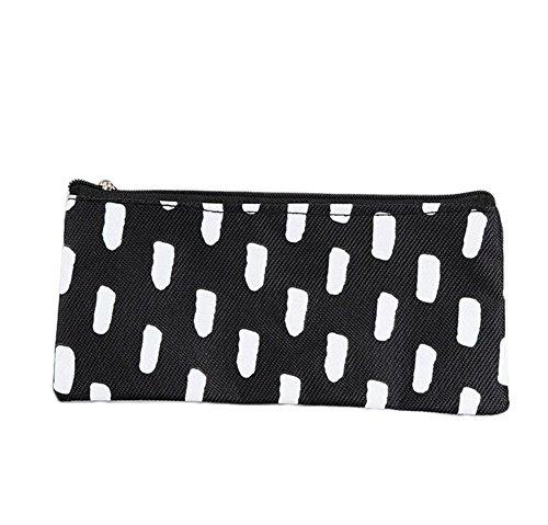 Freedi Canvas Pencil Case Pouch Wave Stripe Zipper Closure Cosmetic Makeup Bag Cute Pen Stationery Holder