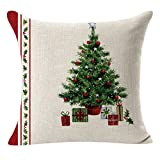 WARMWORD Fundas Cojines de Navidad, Patrón de Arbol de Navidad Funda de Cojines 45x45 Navidad Decoracion para Hogar Casa Sofa Jardin Cama Lino Throw Pillow Case Funda de Almohada para Cojín
